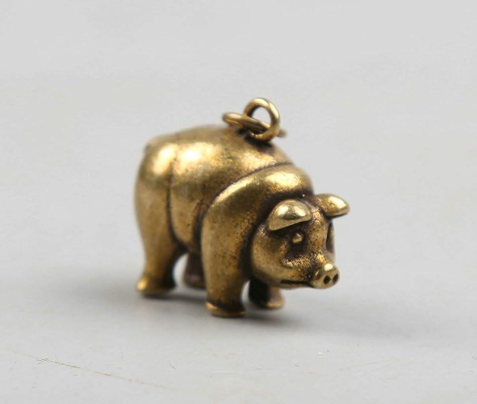 定期的に地雷原だます収集珍しい中国風水小さなブロンズ絶妙な動物12干支年豚ポーケットグランジペンダント像