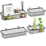 Wall Mounted Wire Baskets, Packism Metal Wall Basket Multifunctional Hanging Wire Wall Basket bin for Kitchen,Shelf,Bathroom,Home,living Room,Large Wire Storage Baskets with Mount Hooks,4 Pack,Black