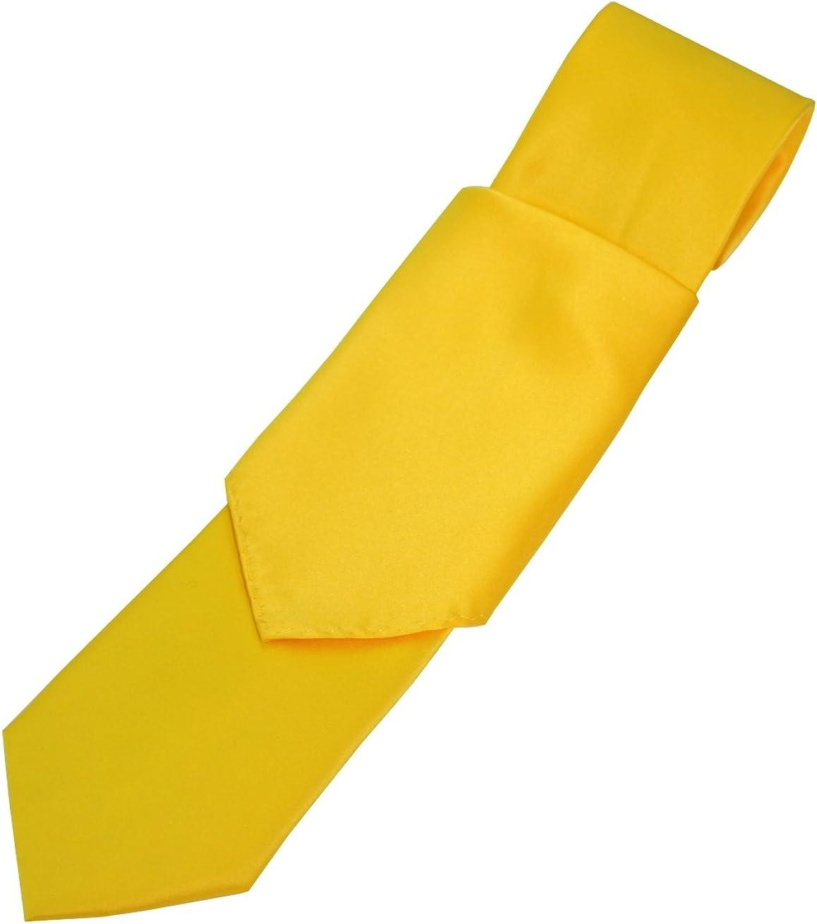 Solid Satin Men's Necktie and Pocket Square set in Gold