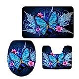 Coloranimal Juego de 3 alfombras de baño lavables con alfombrilla de contorno, tapa de inodoro, alfombrilla de baño, diseño de mariposas