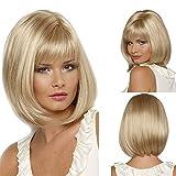 LukyTimo Short Bob dritto bionda misto parrucche per donna completo sintetico capelli Miele naturale cenere oro parrucca con frangia per cosplay o la vita quotidiana (blonde)