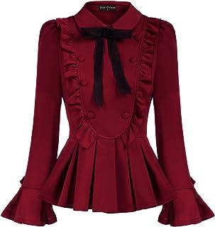 SCARLET DARKNESS Women's Victorian Puff Sleeve Shirt Lapel Collar Peplum Hem Blouse