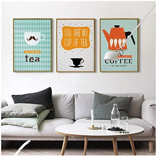 Zhaoyangeng Nordic Decoratieve Canvas Schilderen Theepot Theekop en Koffiezet Cartoon Foto's voor Woonkamer en Keuken-50X70Cmx3 Geen Frame
