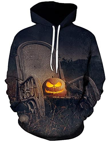 WBYFDC Herren Hoodie Halloween Kürbis 3D Digitaldruck Kapuzentasche Pullover Lose Herbst/Winter Sport Sweatshirt Frauen Straße Coole Freizeit