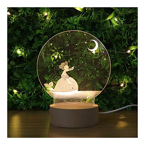 Fortnite cadeaus, Meisje En Walvis 3D Illusion Night Lamp Bed Side Lamp