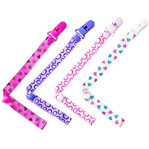 4 Stück Baby Schnullerkette mit Clip Verstellbare Länge mit Druckknopf, Mehrfarbig Schnuller Halter für Unisex Neugeborene Jungen Mädchen