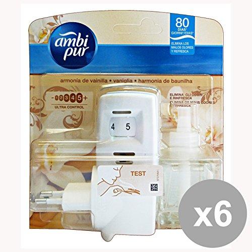 AMBI PUR Set 6 Casa Base+Ricarica Vaniglia Deodorante Candele E Profumatori