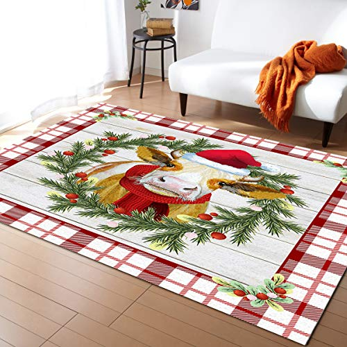 Crystal Emotion Area Rug Runner 2x3ft, Christmas Cow Buffalo Plaid Outdoor Runner Rugs Carpet for Hallway/Bedroom/Kitchen/Living Room/Indoor, Low Profile Pile, Non Slip, Red Check Cattle Farm