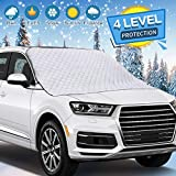 WHDZ Car Windshield Snow Cover, Car Sunshades with Magnetic Edges, Thicker 4 Layers Waterproof Guard Covers, Winter Cover Defense UV, Snow, Ice and Frost, Fits for Most Standard Cars and SUV
