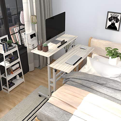 sogesfurniture höhenverstellbar Computertisch Laptoptisch mit Rollen, Mobiler Schreibtisch PC Tisch Notebooktisch Laptopständer für Zuhause und Büro, Ahorn BHEU-101-2MP