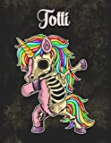 Totti: Personalized Dabbing Unicorn Sketchbook & Notebook with pink name | Best Birthday Gift for Totti |8.5x11 Size & 100 Sketchbook pages + 50 Wide Ruled Composition Notebook pages...