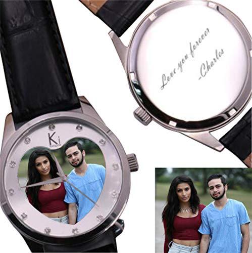 Benutzerdefinierte Foto Uhren für Männer mit Lederband personalisierte Geschenk für Boy Friend