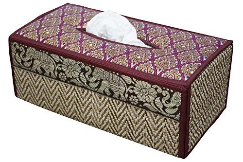 Mouchoirs, Boîte cache Boîte fait en roseau osier. Produit ECO, fabriqué en matériaux durables avec bordure de luxe en soie avec motif d'éléphant en profil sur le coté de la boîte. (B Rouge Bordeaux)