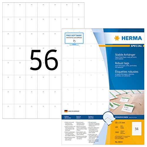HERMA 8044 Stabile Anhänger DIN A4 (30 x 37 mm, 100 Blatt, Papier/Folie/Papier-Verbund) perforiert, bedruckbar, nicht klebende Preisanhänger, 5.600 Produktanhänger, weiß