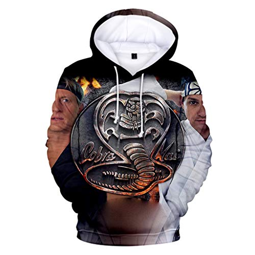 Cobra Kai Hoodie Damen, Herren Karate Kid Pullover Teenager Jungen Mädchen Kinder Kids Locker Sweatshirt Frauen Männer Langarm Pulli Lose Halloween Kapuzenpullover Shirt Merchandise (K1,150CM)