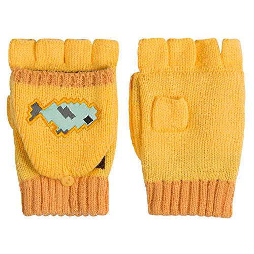 JINX Minecraft Ocelot Fingerless Knit Gloves with Convertible Mitten Cover, Yellow, Youth Fit