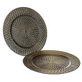MACOSA WV50233 - Juego de 2 platos, color negro y dorado