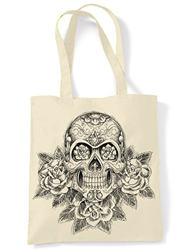 Skull and Roses Tattoo Large Print Tote Shoulder Shopping Bag (Cream)