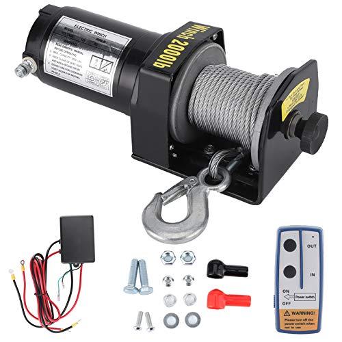 zhuolong Cabrestante eléctrico, cabrestante eléctrico de 12 V, Capacidad de Carga de 2000 Libras, cabrestante de Alta eficiencia con Control Remoto para ATV UTV, Coche, camión, Barco