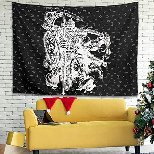 Magiböes Tapiz de pared vikingo Odin Krieger Spwear con diseño de hacha, color blanco, 200 x 150 cm