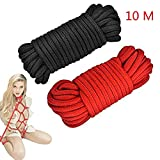 Niu-Man Cuerda de cordón de algodón Trenzado Suave de 2 Piezas (Rojo y Negro)