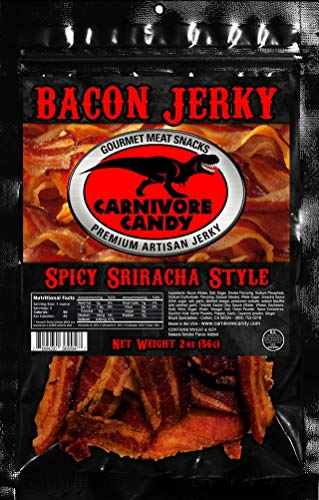 JURASSIC JERKY'S Carnivore Carnivore Candy Bacon Jerky - Spicy Sriracha Flavor - Single Pack (1 x 2oz Bag)