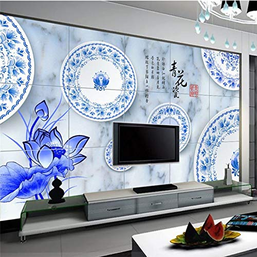 Lxsart Aangepaste Behang 3D Blauw en Wit Porselein Oude Rhyme Lotus Mode Klassieke Marmeren Tegels Achtergrond Muur Papier 400cmx280cm