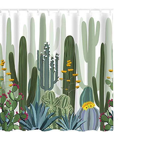 Litthing Cortina de Ducha Anti-Molde Estilo de Planta Verde 180 cm * 180 cm / 12 Anillos de Cortina para el Baño con Vibrante Colores de Impresión Digital en 3D (10)