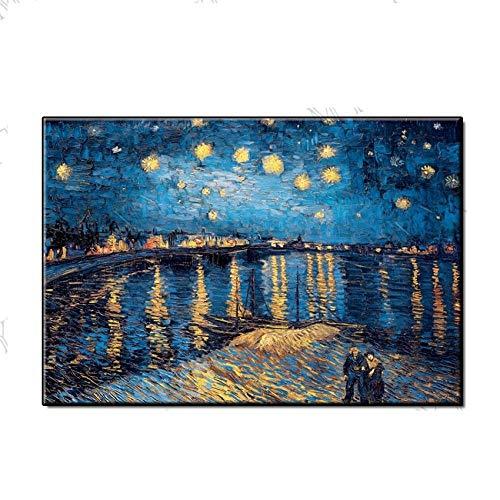 Ölgemälde Auf Leinwand Handgemalt, Modernen Abstrakten 3D-Landschaft Gemälde, Kopie Von Vincent Van Gogh Sternenhimmel, Professionelle Große Home Wand Kunst Dekor Für Eingang Wohnzimmer Schlafzim