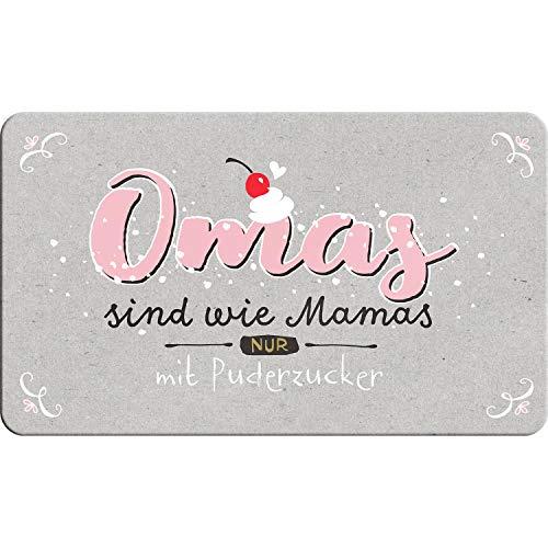Die Geschenkewelt Happy Life 46131 Schneidebrett mit Spruch Omas sind wie Mamas nur mit Puderzucker, Resopal-Brettchen, Mehrfarbig, Höhe: 14, 3 cm, Breite: 23, 3 cm, Stärke: 2 mm