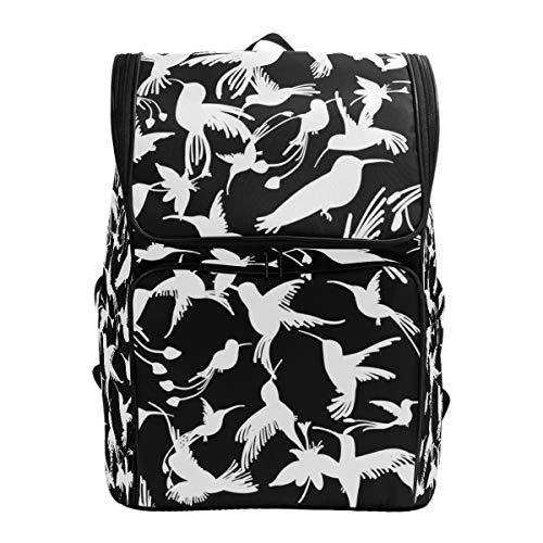 Ahomy Schulranzen Schwarz und Weiß Kolibri Blumen Wanderrucksack Cool Sport Rucksack Laptop Tasche Leichter Schulrucksack für Teenager Mädchen Jungen
