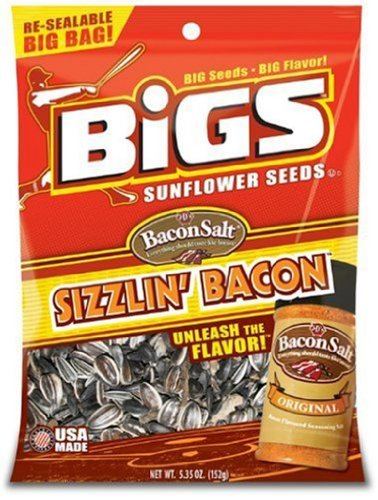 Bigs Bacon Salt Sizzling Sunflower Seed, 5.35-Ounce (Pack of 12)