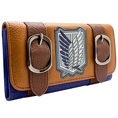 Cartera de Attack on Titan Survey Corps Logo Marrón