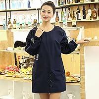 FJH 長袖エプロン防水通気性韓国スタイルのシンプルなアダルトワークウェア エプロン (Color : Blue)