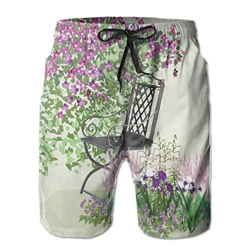 Men's Sports Beach Shorts Board Shorts,Island For Relaxing In The Garden Among The Flowers Blooming Summer Day Artwork,Surfing Swimming Trunks Bathing Suits Swimwear,XX-Large