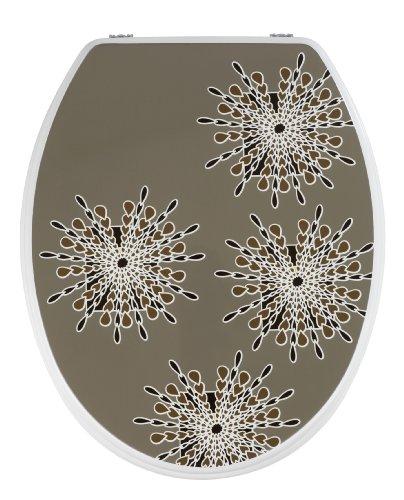 WENKO 20136100 WC-Sitz Mercure Gris - Fix-Clip Hygiene Metallbefestigung, MDF, 37 x 44 cm, Braun