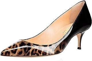 vocosi Women's Closed Pointed Toe Low Kitten Heel Wedding Party Dress Pumps