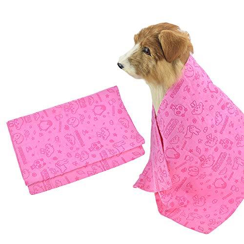 FLAdorepet Huisdier Hond Badhanddoek Super Absorberende PVA Chamois Cat Badjas voor Honden en Katten Anti-Bacteriële Snel Droog en Makkelijk schoon te maken Snelste manier om uw huisdier te drogen, 33x13 inche, roze