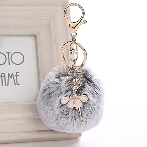 LEEDY Cute Dancing Angel Portachiavi Ciondolo Donna Portachiavi Pompon Portachiavi, Xmas Decor Ciondolo Ornamento Decorazioni Natalizie Accessori, 8 cm, Grey, Multi-Colored
