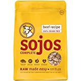 Sojos Complete Natural Grain Free Dry Raw Freeze Dried Dog Food Mix, Beef, 2-Pound Bag