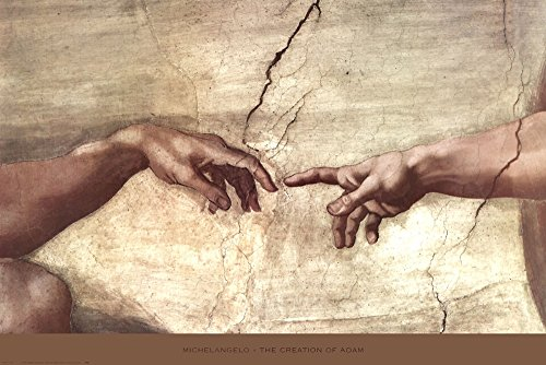 Creation of Adam (Hands Detail) by Michelangelo Buonarroti Art Print, 36 x 24 inches