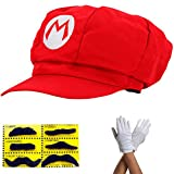 thematys Super Mario Mütze - Kostüm für Erwachsene & Kinder in 4 Handschuhe und 6X Klebe-Bart - perfekt für Fasching, Karneval & Cosplay -