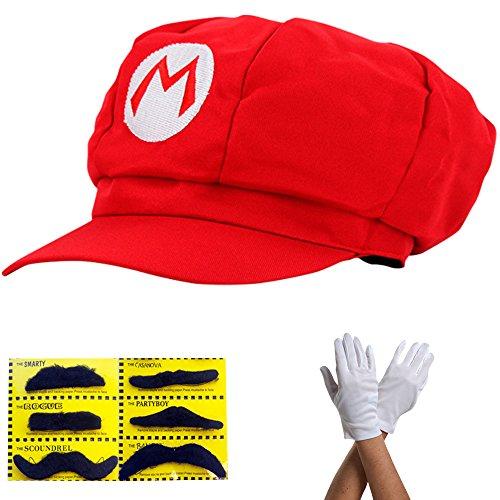 Super Mario Gorra - Disfraz para Adultos y nios en 4 Colores Diferentes + Guantes y 6X Barba pegajosa Carnaval y Cosplay