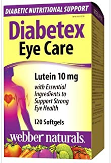 Webber Naturals Diabetex Eye Care with Omega-3 & 10mg Lutein, 120 softgels