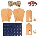 MELLIEX 24 Stück Weihnachten Kraftpapier Geschenkanhänger Weihnachts Anhänger Etiketten und 1-24 Deutsche Adventskalender Aufkleber für Weihnachts Präsentieren Dekoration