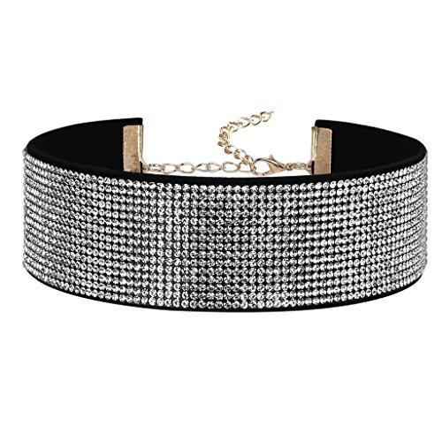 Bishilin Samt Choker Damen Halskette Halsband Perlen Kristall Zirkonia Schwarz Weiß Halskette Verstellbare Länge 31.2CM