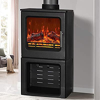 NRG 4.3KW High Efficiency Cast Iron Woodburning Stove Eco Design Wood Burner Fireplace with Log Store Defra Approved