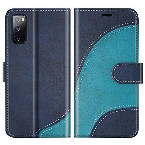 BoxTii Hülle für Galaxy S20 FE/Galaxy S20 Lite, Leder Handyhülle für Samsung Galaxy S20 FE/Galaxy S20 Lite, Ledertasche Klapphülle Schutzhülle mit Kartenfächer & Magnetverschluss, Blau