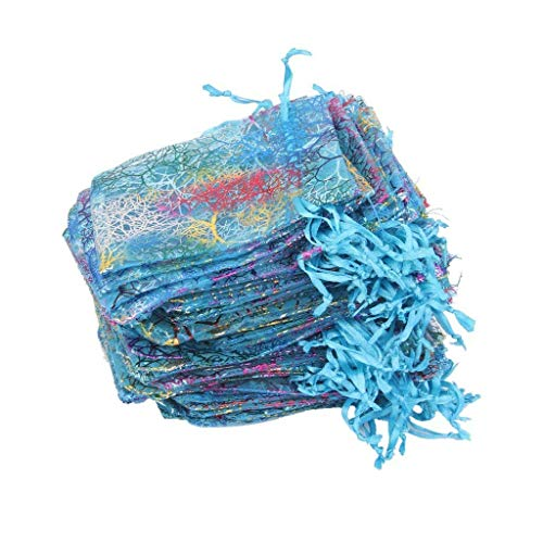 Organza Candy Pouch Gift Bag Drawstring Bag for Wedding Baby Shower for Storage Candy Chocolates Use 100PCS Blue Cost-Effective and Good Quality