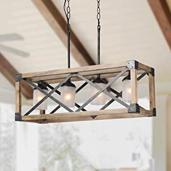 Laluz Wood Kitchen Island Farmhouse Pendant Lighting Hanging Fixture For Dining Room 4 Glass Globes A02989 Amazon Com